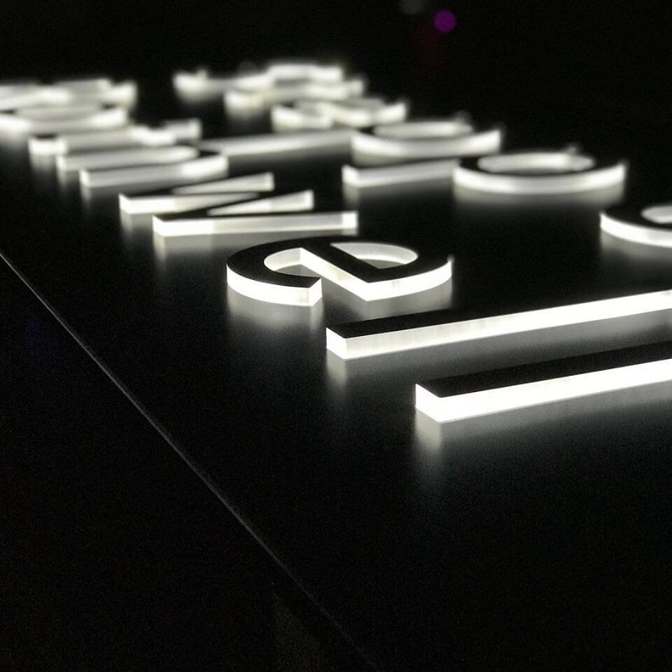 Edge Lit Acrylic Push Thru Sign Kc Custom Signs Custom